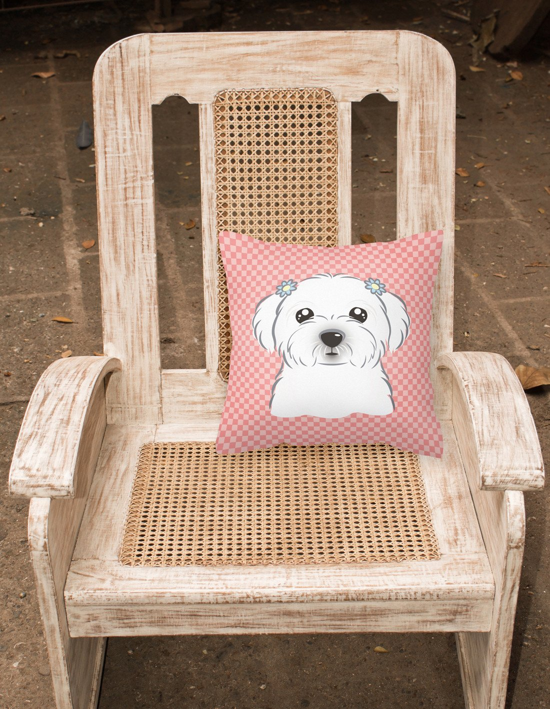 Checkerboard Pink Maltese Canvas Fabric Decorative Pillow BB1208PW1414 - the-store.com