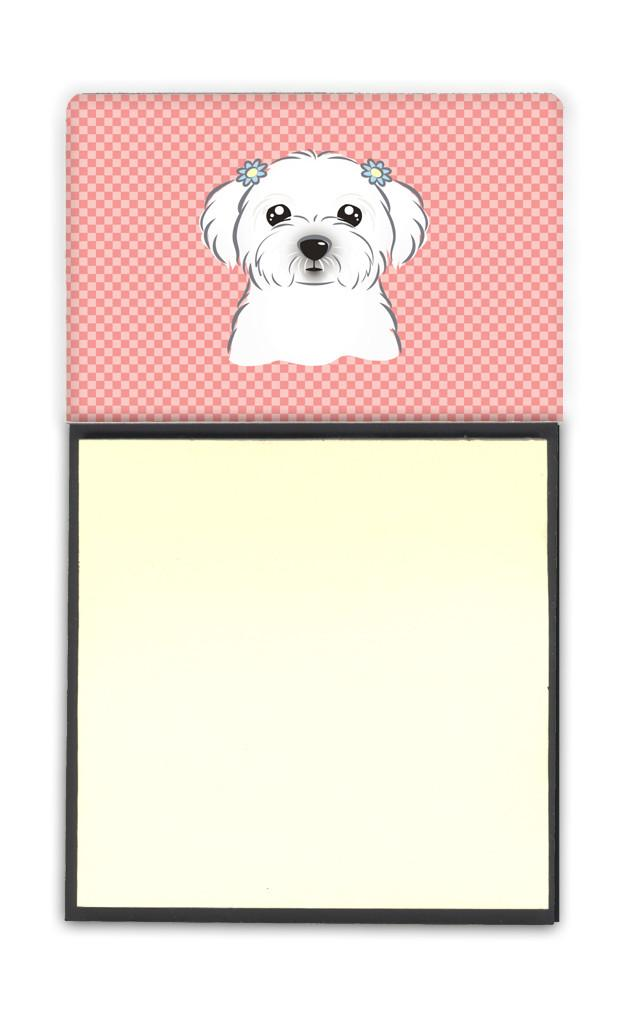 Checkerboard Pink Maltese Refiillable Sticky Note Holder or Postit Note Dispenser BB1208SN by Caroline's Treasures