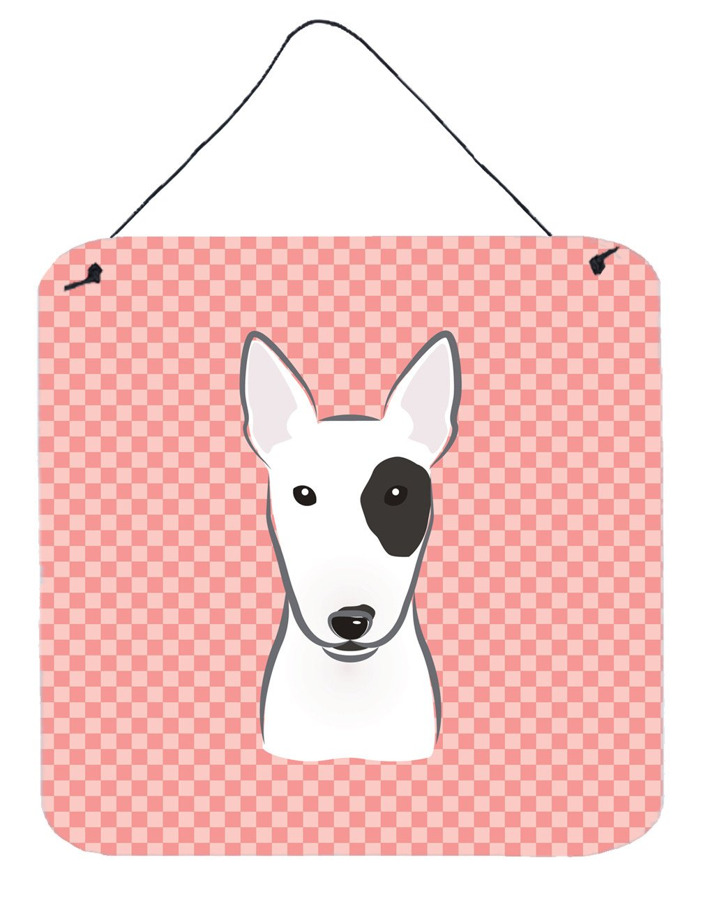 Checkerboard Pink Bull Terrier Wall or Door Hanging Prints BB1209DS66 - the-store.com