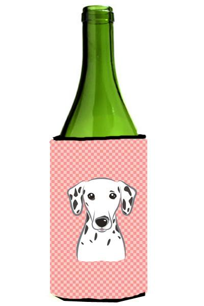 Checkerboard Pink Dalmatian Wine Bottle Beverage Insulator Hugger BB1210LITERK by Caroline's Treasures