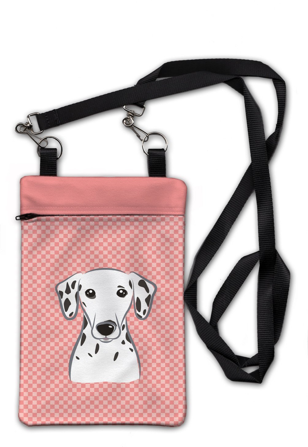 Checkerboard Pink Dalmatian Crossbody Bag Purse BB1210OBDY by Caroline's Treasures