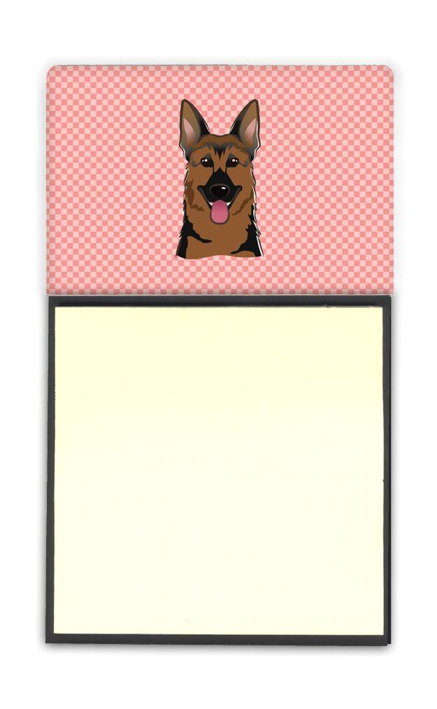 Checkerboard Pink German Shepherd Refiillable Sticky Note Holder or Postit Note Dispenser BB1211SN by Caroline's Treasures