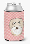 Checkerboard Pink Longhair Creme Dachshund Can or Bottle Hugger BB1212CC by Caroline's Treasures