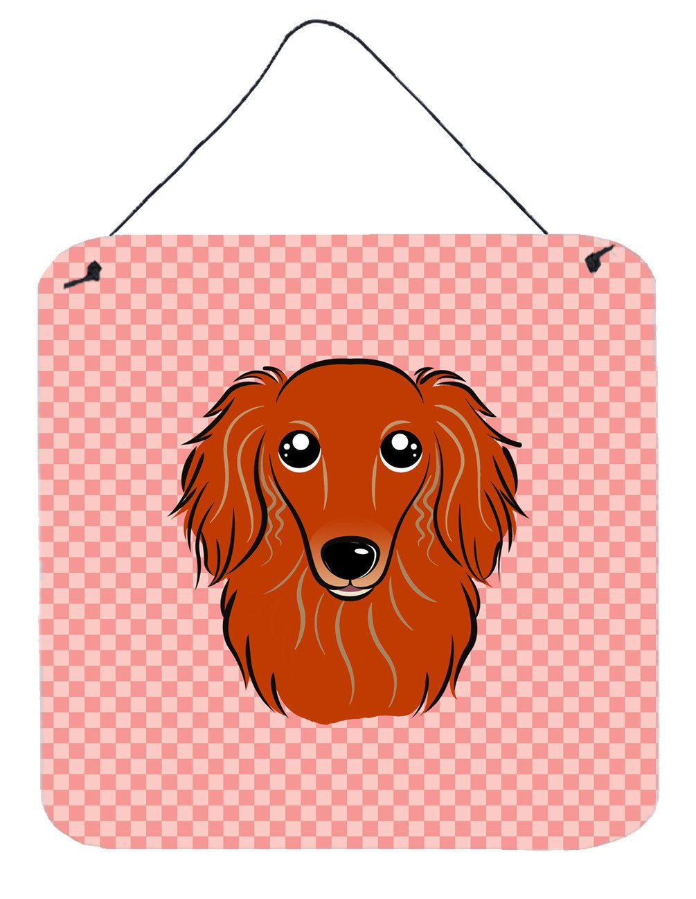 Checkerboard Pink Longhair Red Dachshund Wall or Door Hanging Prints BB1214DS66 by Caroline's Treasures