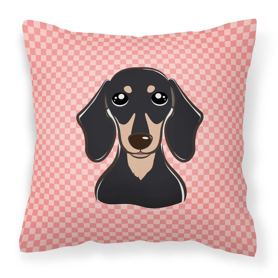 Buy this Checkerboard Pink Smooth Black and Tan Dachshund Canvas Fabric Decorative Pillow