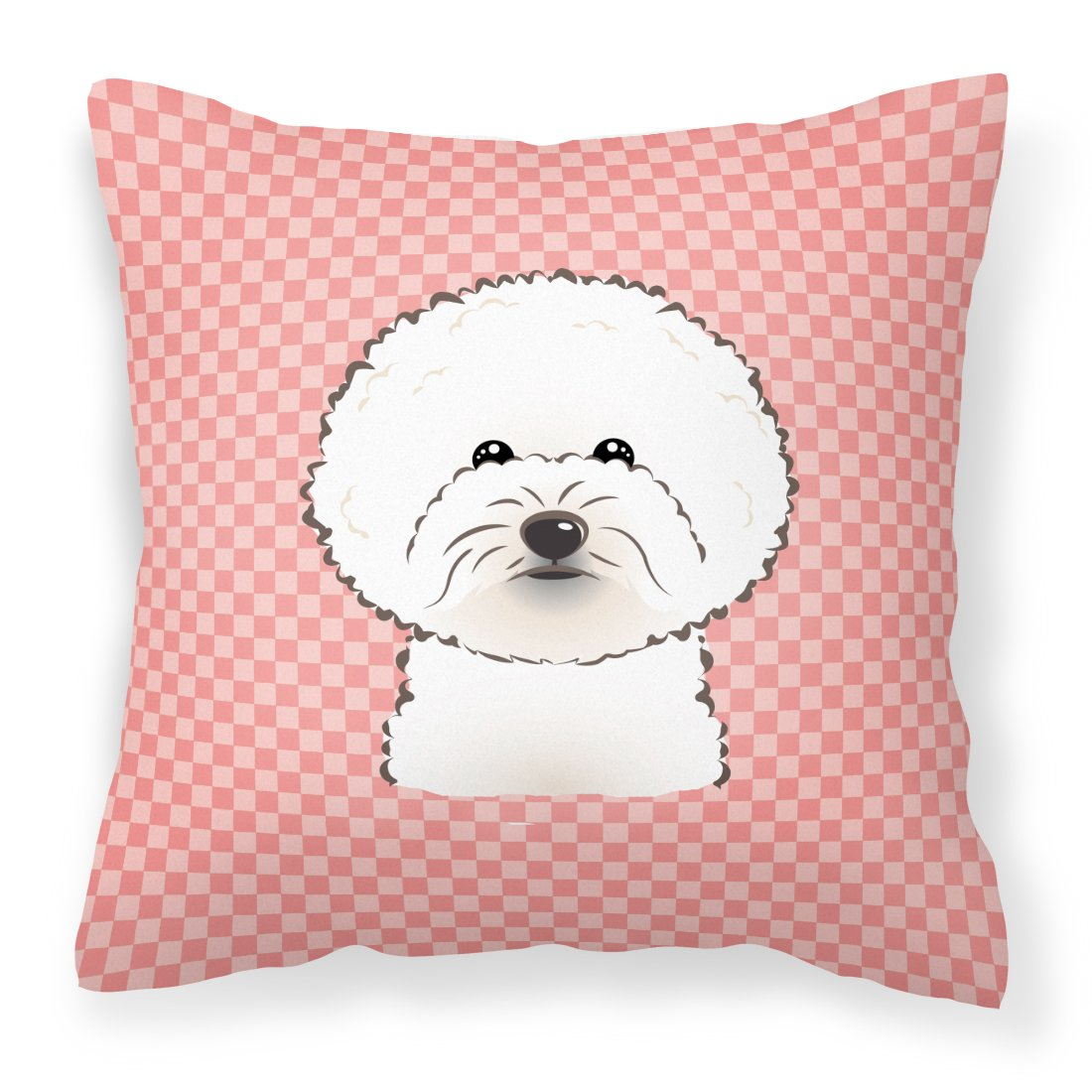 Checkerboard Pink Bichon Frise Canvas Fabric Decorative Pillow by Caroline's Treasures