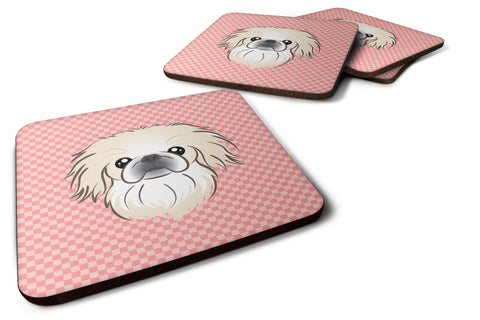 Buy this Set of 4 Checkerboard Pink Pekingese Foam Coasters BB1221FC