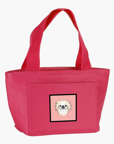 Buy this Checkerboard Pink Pekingese Lunch Bag BB1221PK-8808