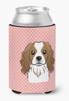 Checkerboard Pink Cavalier Spaniel Can or Bottle Hugger BB1224CC by Caroline's Treasures