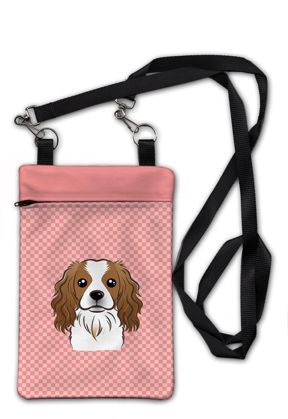 Checkerboard Pink Cavalier Spaniel Crossbody Bag Purse BB1224OBDY by Caroline's Treasures