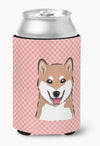 Checkerboard Pink Shiba Inu Can or Bottle Hugger BB1225CC by Caroline's Treasures