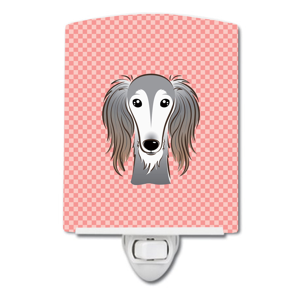 Checkerboard Pink Saluki Ceramic Night Light BB1229CNL by Caroline's Treasures