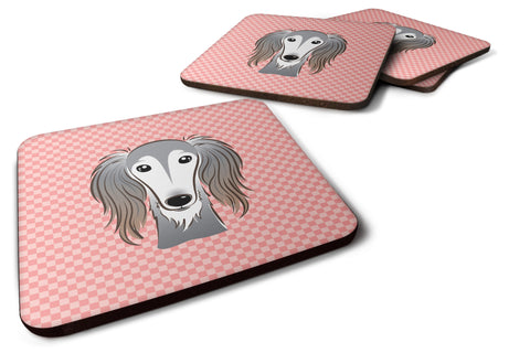 Buy this Set of 4 Checkerboard Pink Saluki Foam Coasters BB1229FC