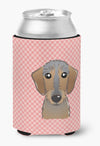 Checkerboard Pink Wirehaired Dachshund Can or Bottle Hugger BB1233CC by Caroline's Treasures