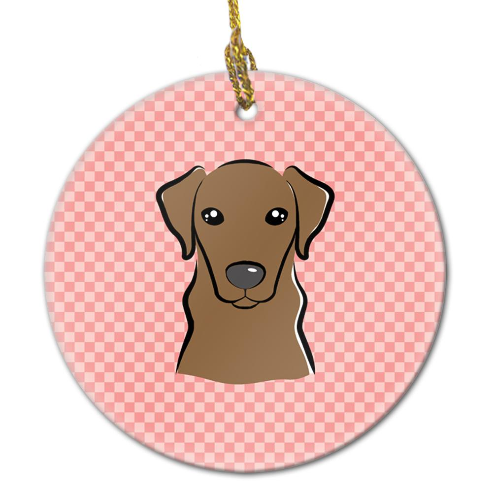 Buy this Checkerboard Pink Chocolate Labrador Ceramic Ornament