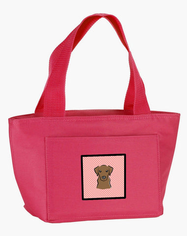 Buy this Checkerboard Pink Chocolate Labrador Lunch Bag BB1234PK-8808