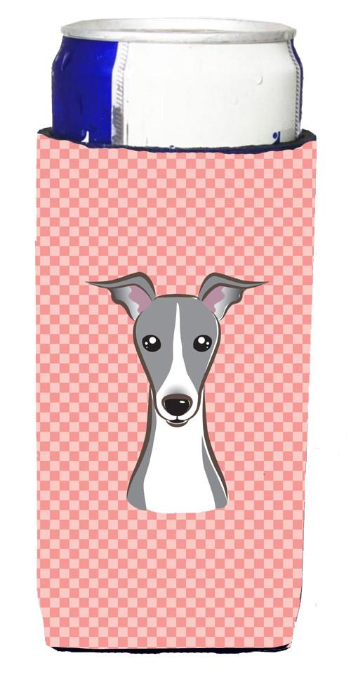 Checkerboard Pink Italian Greyhound Ultra Beverage Insulators for slim cans by Caroline's Treasures