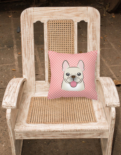 Checkerboard Pink French Bulldog Canvas Fabric Decorative Pillow BB1238PW1414 - the-store.com