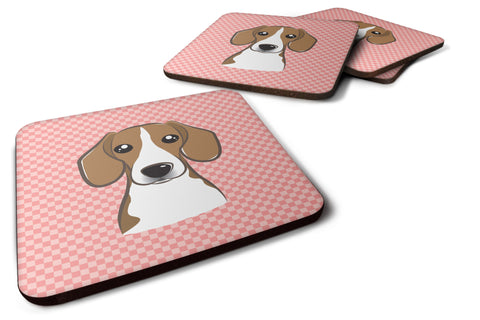 Buy this Set of 4 Checkerboard Pink Beagle Foam Coasters BB1239FC