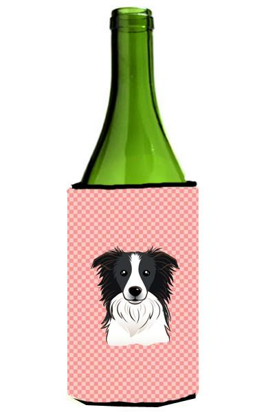 Checkerboard Pink Border Collie Wine Bottle Beverage Insulator Hugger BB1241LITERK by Caroline's Treasures