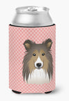 Checkerboard Pink Sheltie Can or Bottle Hugger BB1242CC - the-store.com