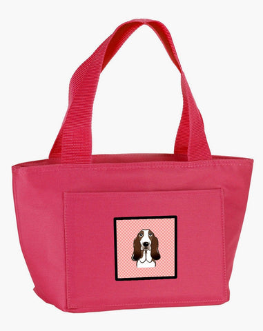 Buy this Checkerboard Pink Basset Hound Lunch Bag BB1243PK-8808