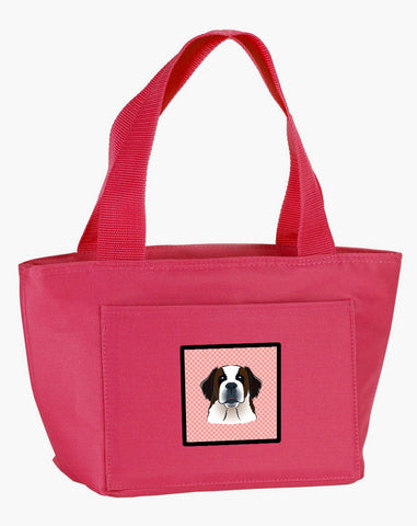 Buy this Checkerboard Pink Saint Bernard Lunch Bag BB1246PK-8808