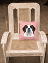 Checkerboard Pink Saint Bernard Canvas Fabric Decorative Pillow BB1246PW1414 - the-store.com