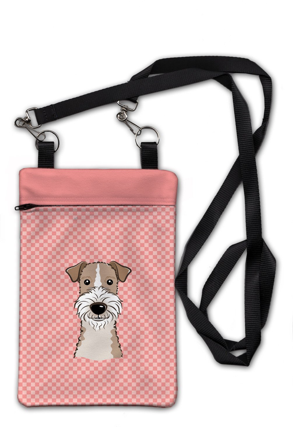 Checkerboard Pink Wire Haired Fox Terrier Crossbody Bag Purse BB1247OBDY by Caroline's Treasures