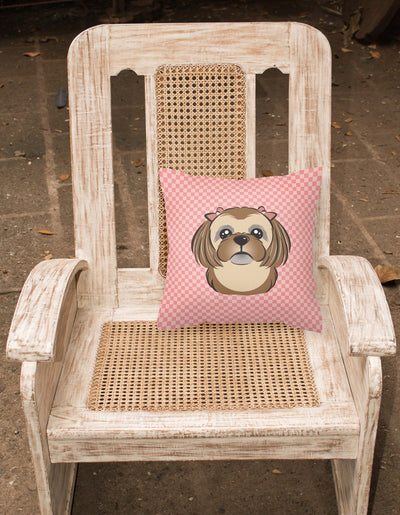 Checkerboard Pink Chocolate Brown Shih Tzu Canvas Fabric Decorative Pillow BB1249PW1414 - the-store.com