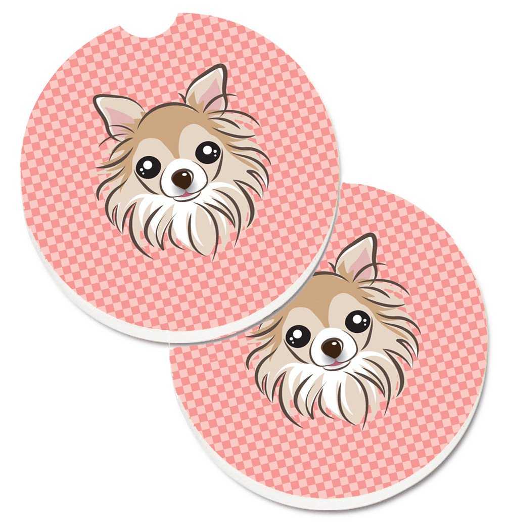 Checkerboard Pink Chihuahua Set of 2 Cup Holder Car Coasters BB1251CARC by Caroline's Treasures