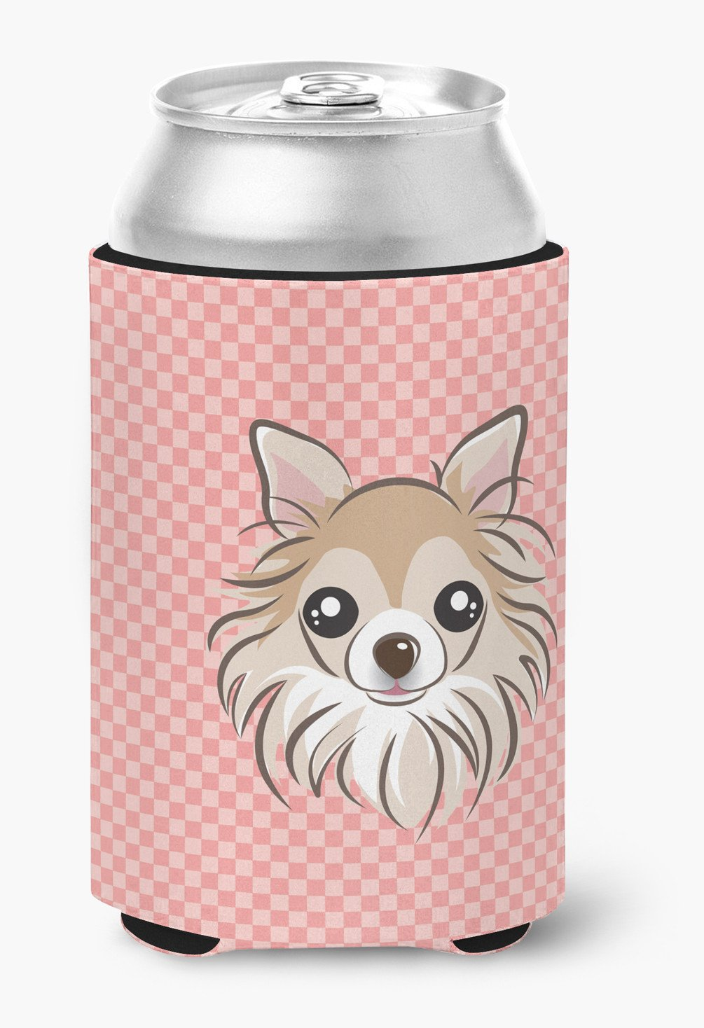 Checkerboard Pink Chihuahua Can or Bottle Hugger BB1251CC by Caroline's Treasures