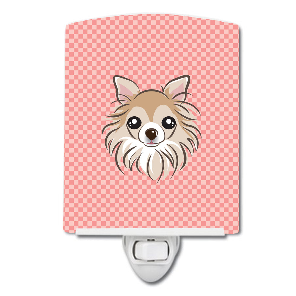 Checkerboard Pink Chihuahua Ceramic Night Light BB1251CNL by Caroline's Treasures