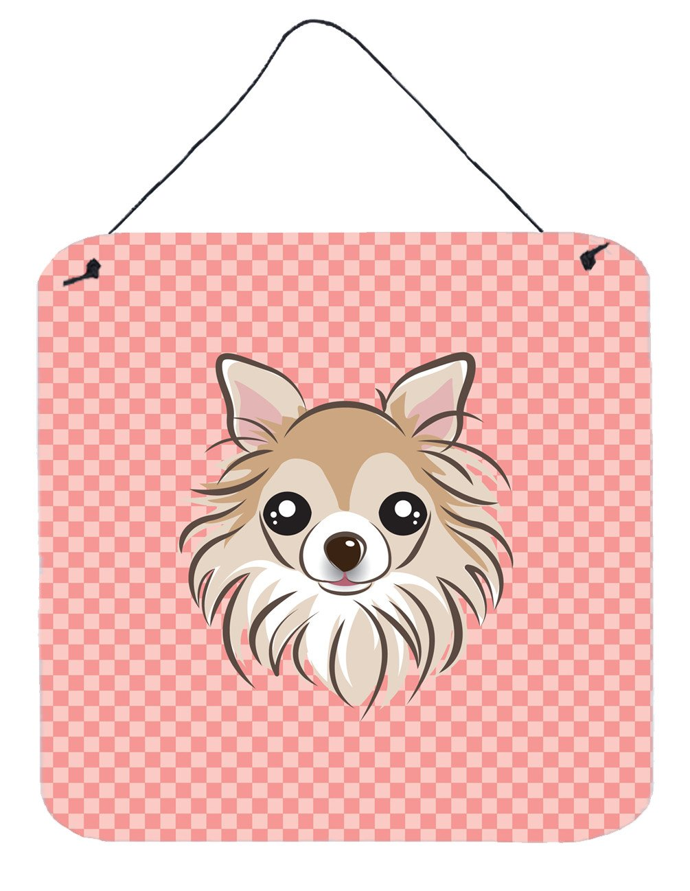 Checkerboard Pink Chihuahua Wall or Door Hanging Prints BB1251DS66 by Caroline's Treasures