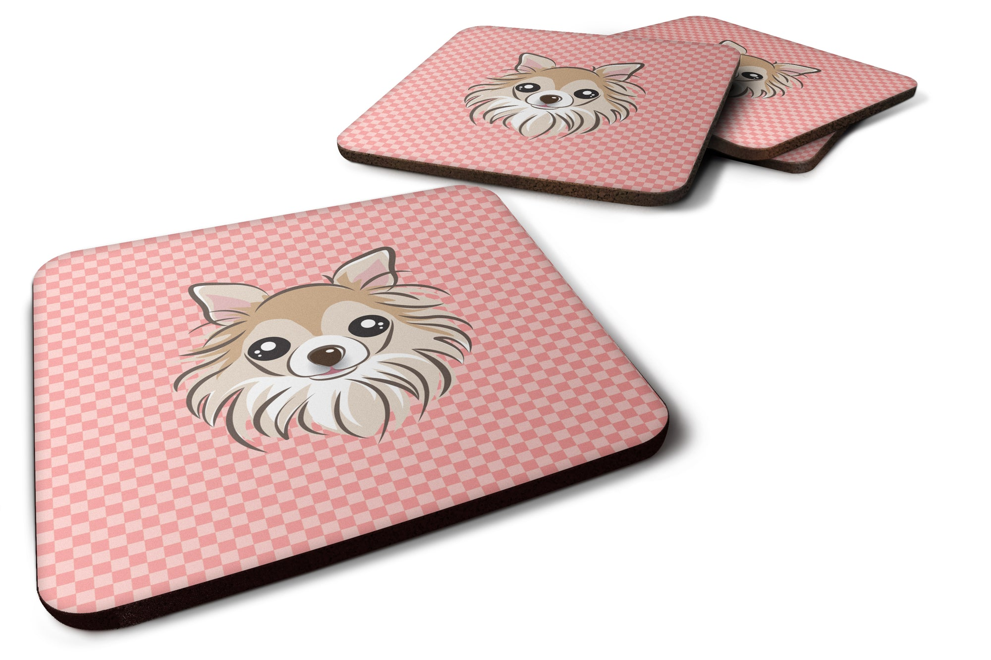 Set of 4 Checkerboard Pink Chihuahua Foam Coasters BB1251FC by Caroline's Treasures