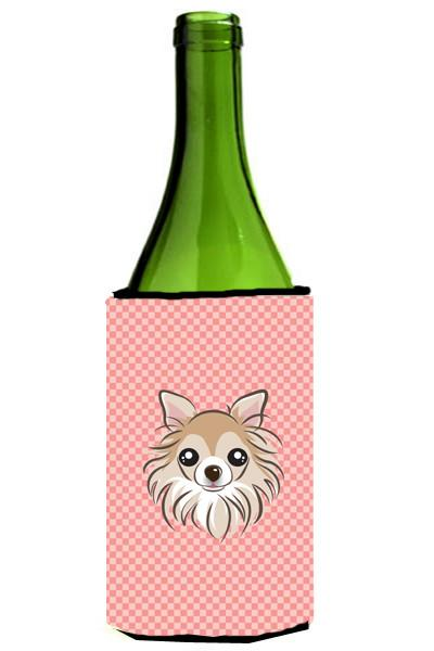Checkerboard Pink Chihuahua Wine Bottle Beverage Insulator Hugger BB1251LITERK by Caroline's Treasures