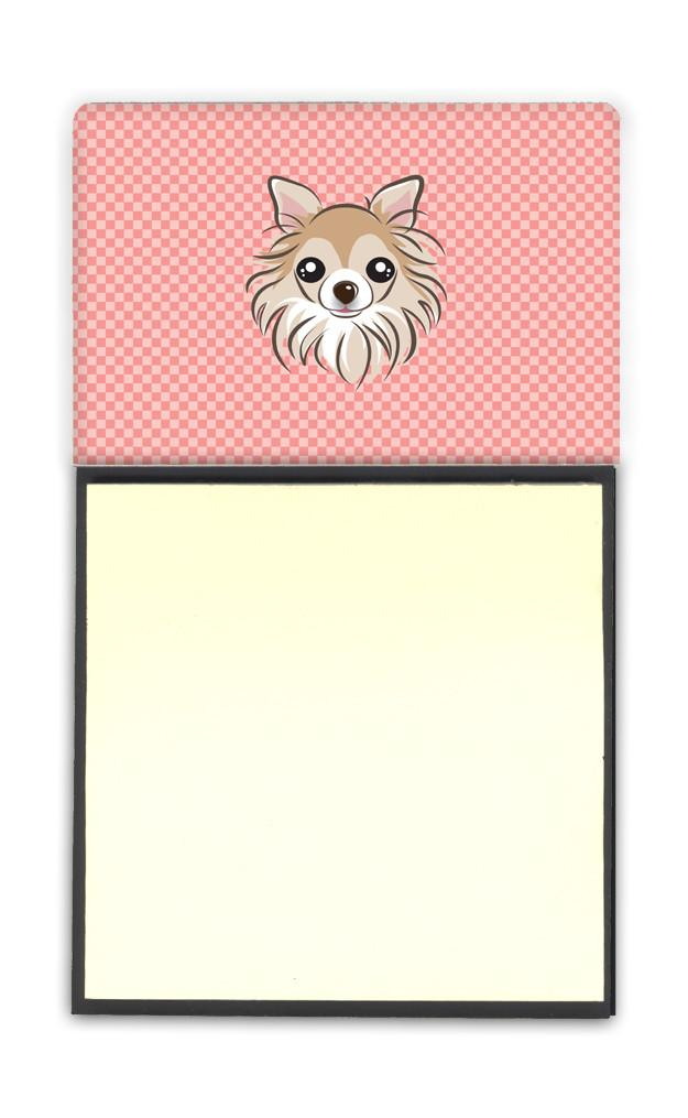 Checkerboard Pink Chihuahua Refiillable Sticky Note Holder or Postit Note Dispenser BB1251SN by Caroline's Treasures