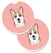 Checkerboard Pink Corgi Set of 2 Cup Holder Car Coasters BB1253CARC by Caroline's Treasures