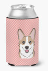 Checkerboard Pink Corgi Can or Bottle Hugger BB1253CC by Caroline's Treasures