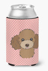 Checkerboard Pink Chocolate Brown Poodle Can or Bottle Hugger BB1256CC by Caroline's Treasures