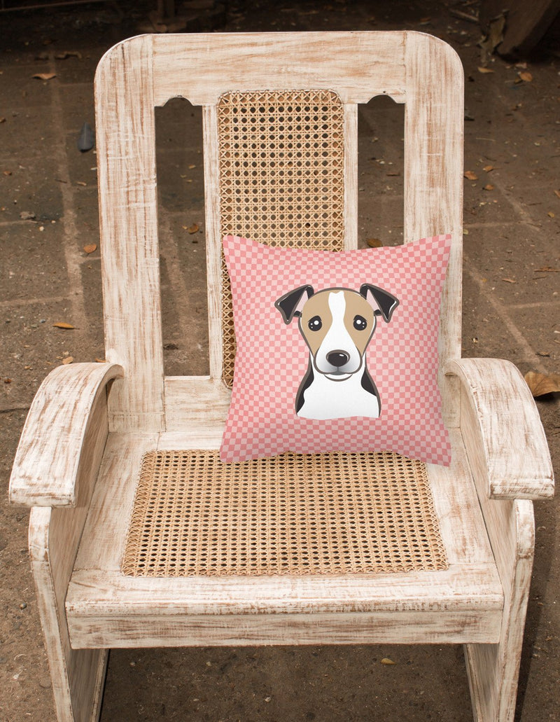 Checkerboard Pink Jack Russell Terrier Canvas Fabric Decorative Pillow BB1261PW1414 by Caroline's Treasures