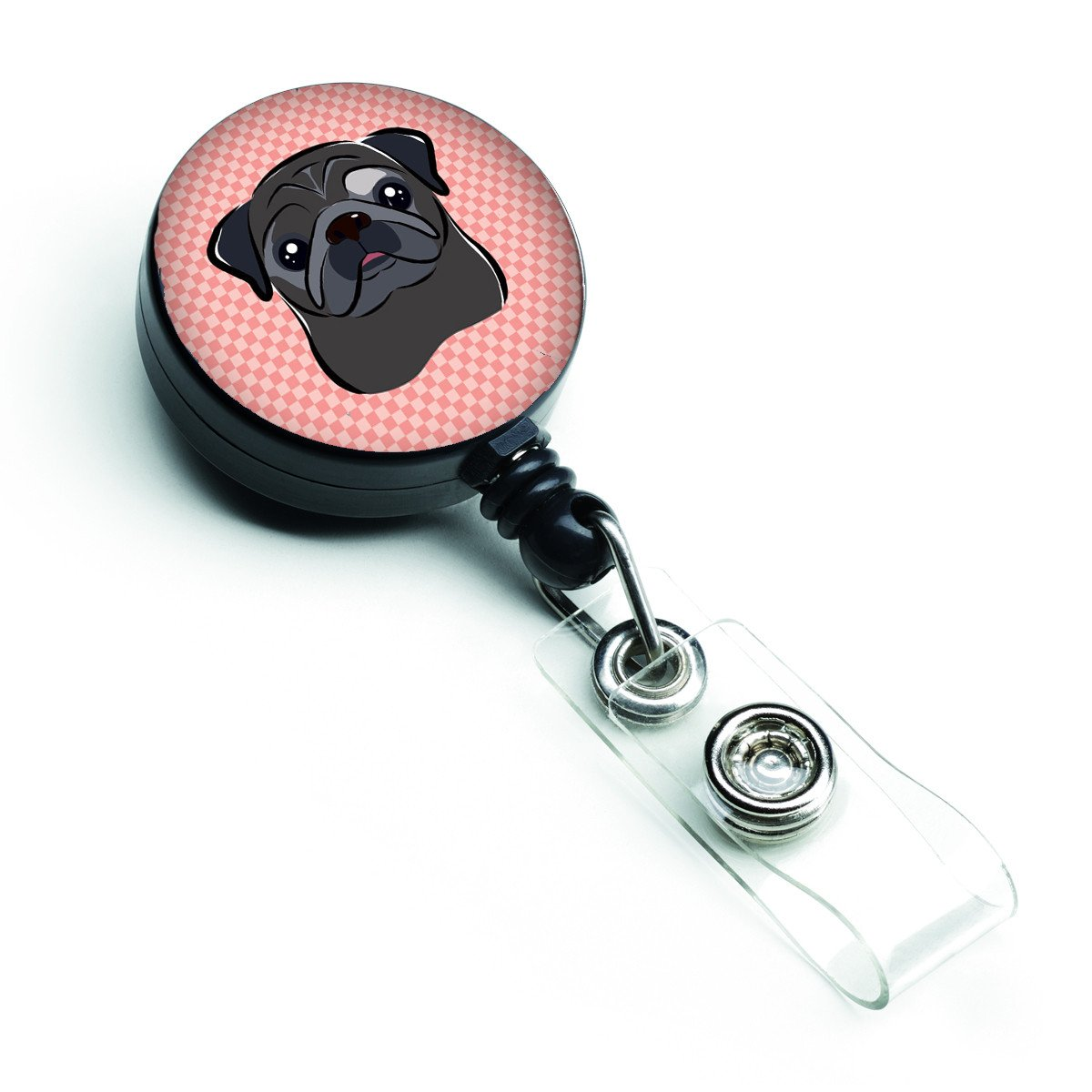 Checkerboard Pink Black Pug Retractable Badge Reel BB1263BR by Caroline's Treasures