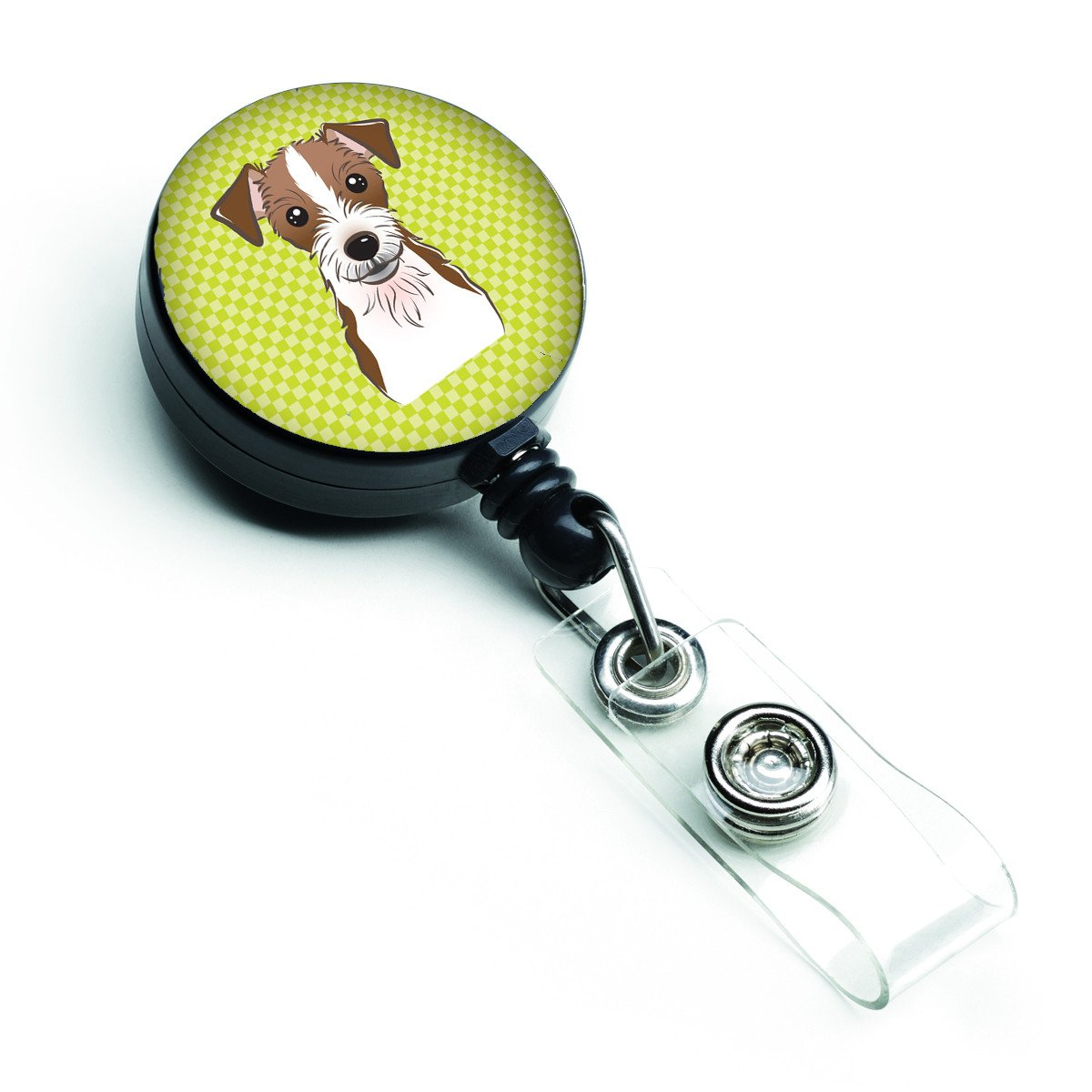 Checkerboard Lime Green Jack Russell Terrier Retractable Badge Reel BB1264BR by Caroline's Treasures