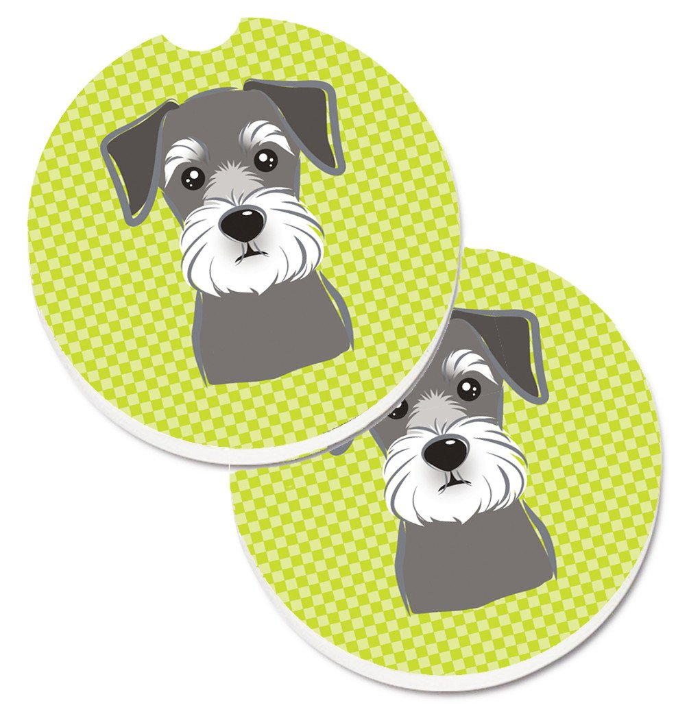 Checkerboard Lime Green Schnauzer Set of 2 Cup Holder Car Coasters BB1268CARC by Caroline's Treasures