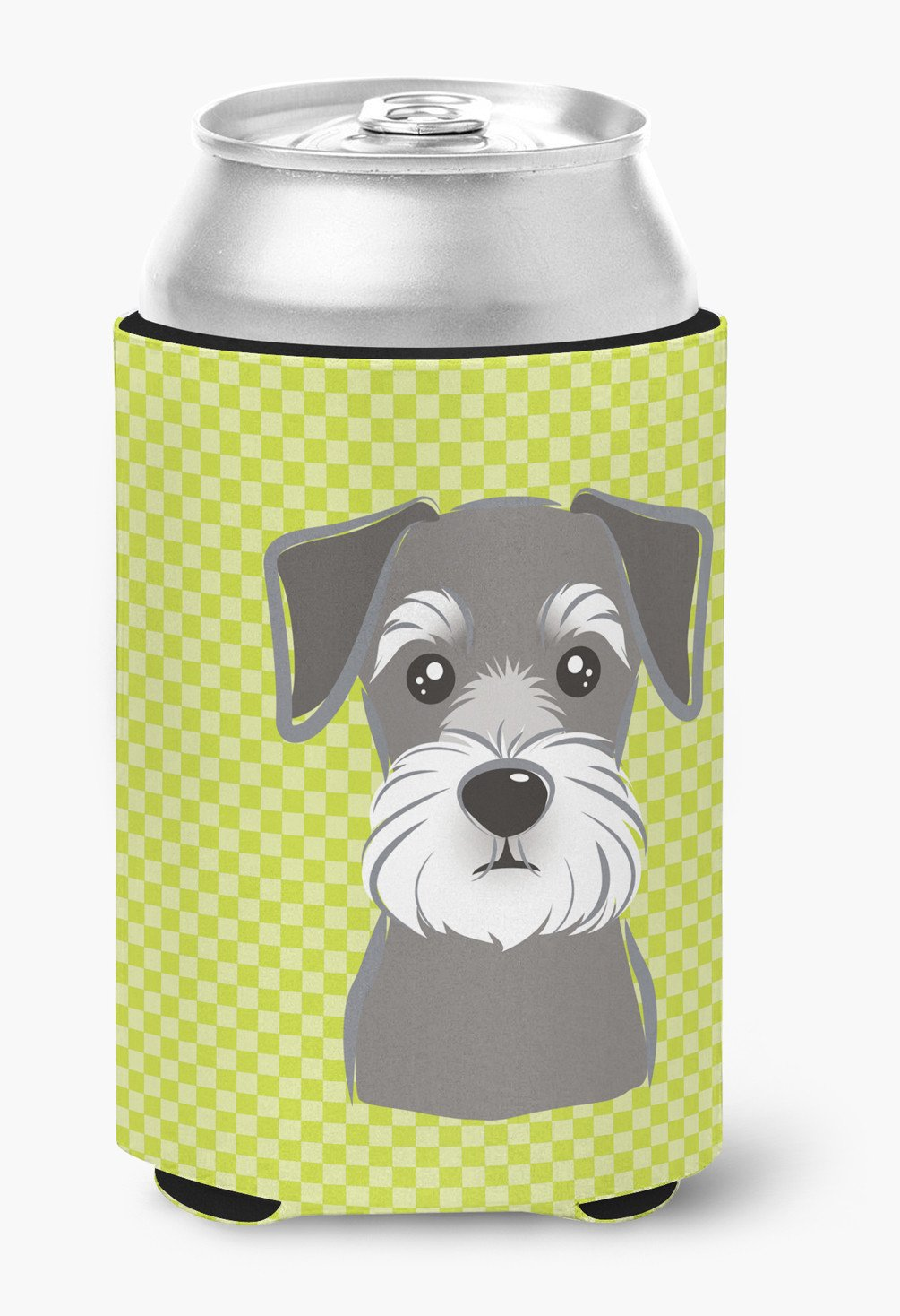Checkerboard Lime Green Schnauzer Can or Bottle Hugger BB1268CC by Caroline's Treasures