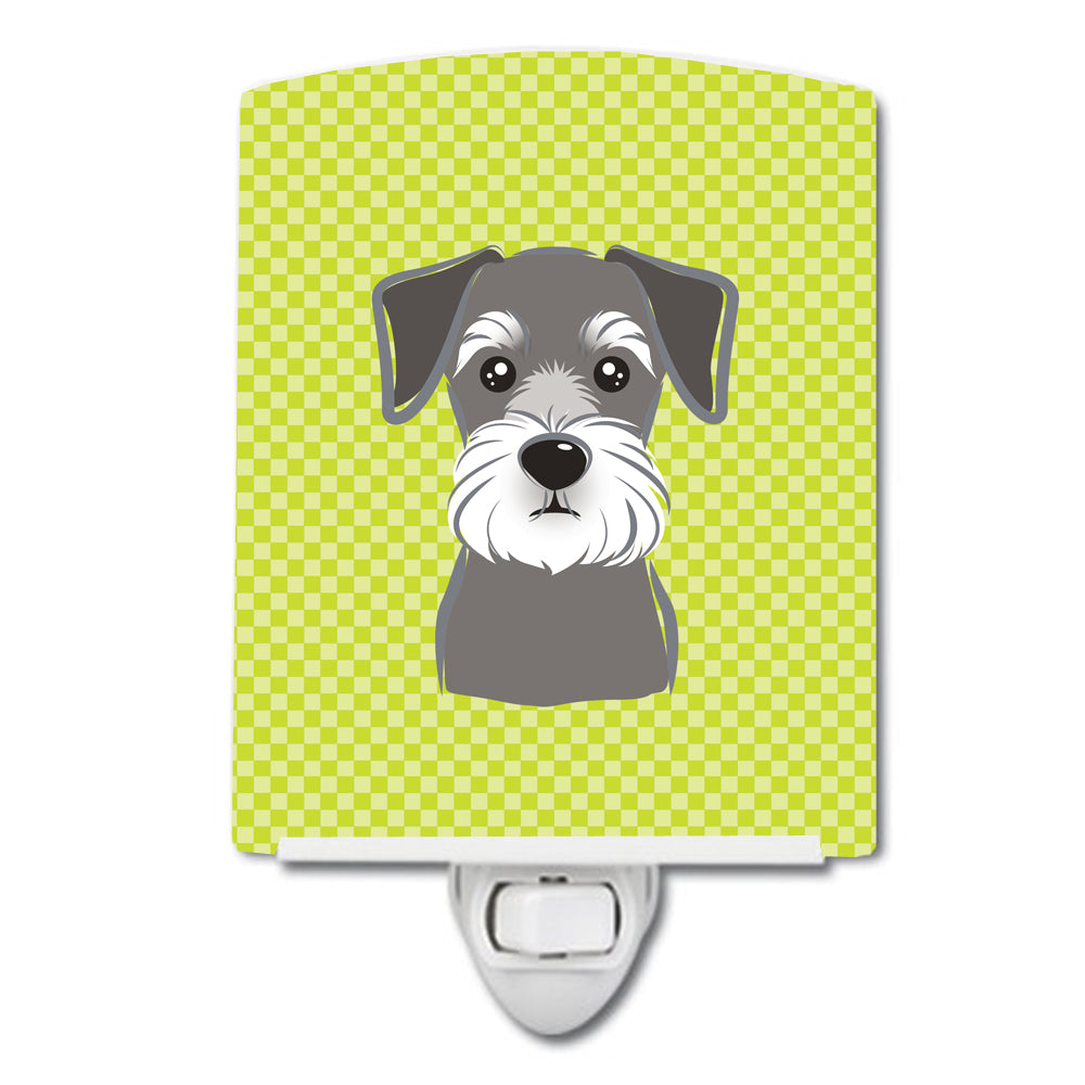 Checkerboard Lime Green Schnauzer Ceramic Night Light BB1268CNL by Caroline's Treasures