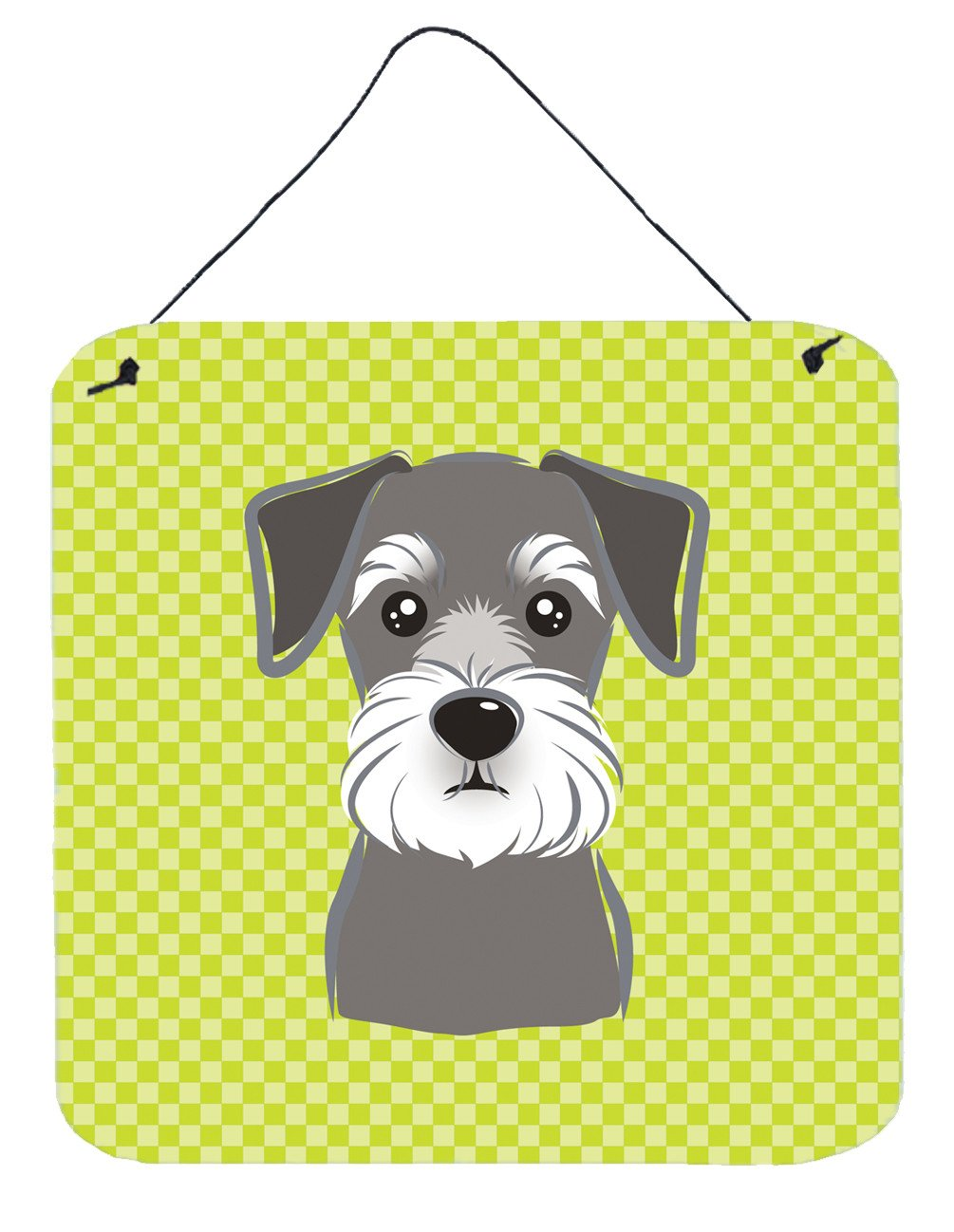 Checkerboard Lime Green Schnauzer Wall or Door Hanging Prints BB1268DS66 by Caroline's Treasures