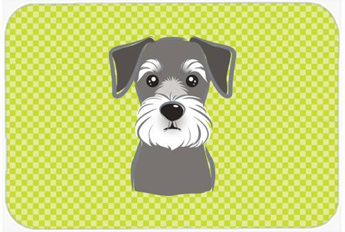 Checkerboard Lime Green Schnauzer Mouse Pad, Hot Pad or Trivet BB1268MP by Caroline's Treasures
