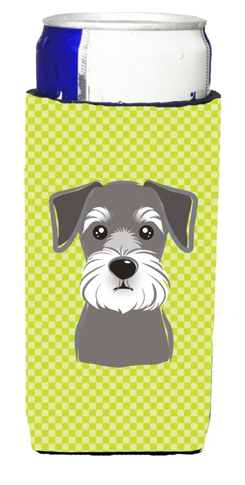 Checkerboard Lime Green Schnauzer Ultra Beverage Insulators for slim cans BB1268MUK by Caroline's Treasures
