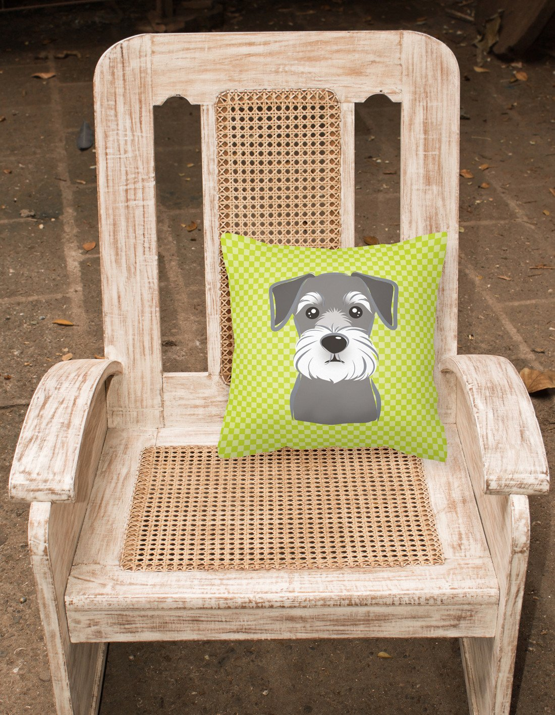 Checkerboard Lime Green Schnauzer Canvas Fabric Decorative Pillow BB1268PW1414 - the-store.com